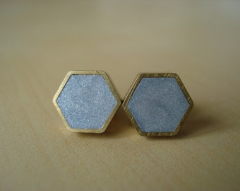 silver shimmer mini brass hexagon stud earrings