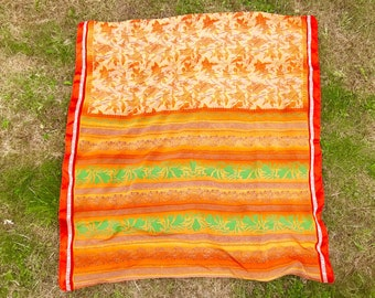 Orange, Yellow, White and Green details, SILK Scarf, from Gokarna, India