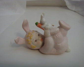 Baby Bunny with Rabbit and Carrot Ceramic Pink Vintage 3 inch Easter