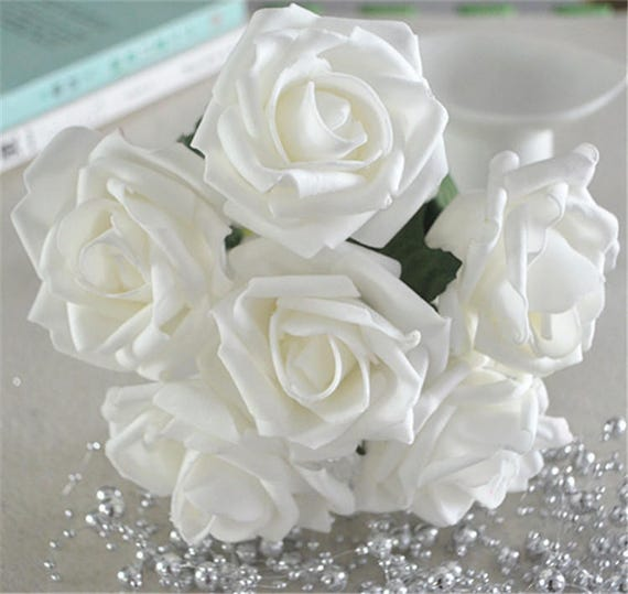 White roses foam flowers artificial off white flowers for like this item junglespirit Gallery