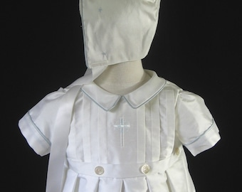 Christening Gown, Boy or Baptism Gown, Bonnet in Silk