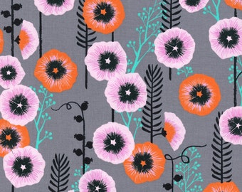 Hollyhocks Grey  - Santa Fe - Sarah Watts - Cotton + Steel - Quilters Cotton Available in Yards, Half Yards, Fat Quarters S2062-001