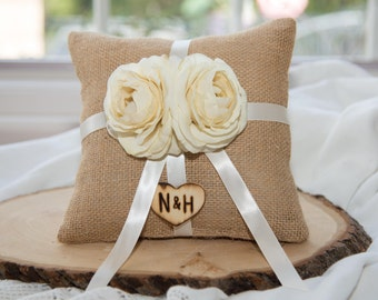 Ring bearer burlap pillow featuring ivory flower with matching ribbon over 60 different flowers and 35 ribbon to select from