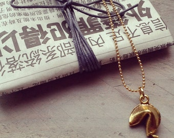fortune cookie necklace gold