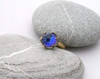 Minecraft Gem Diamond Ring - Brass Crown Princess Ring - Blue to Violet Swarovski Ring - Color Shifting Crown Ring