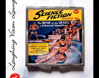 Classic Science Fiction Compact Mirror - Pulp Pill Box - Pill Case - Vintage Sci Fi Women - SF Reader Style-A