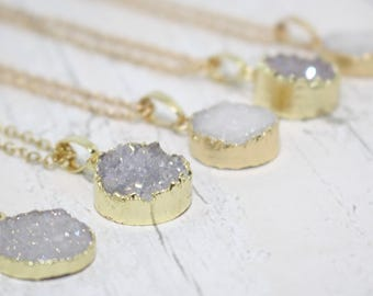 Tiny Druzy Necklace, Crystal Necklace, Druzy Crystal Necklace, Gold Druzy Gemstone Necklace, Druzy Jewelry, Druzy Pendant