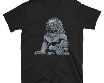 Chinese Lion Iron Short-Sleeve Unisex T-Shirt: guardian, imperial, foo dog, shishi, iron, statue, monument, sculpture, figurine, souvenir