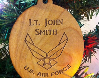 Custom Personalized Wood Air Force Christmas Ornament-Service Christmas Ornament