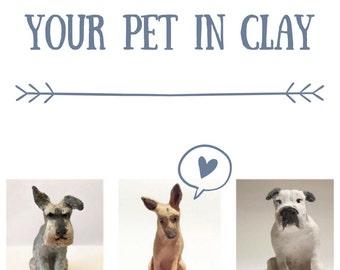 Individuelle Keramik Haustier-Skulptur - Miniatur-Hund oder Katze - Ihr Haustier in Ton--Ornament aus Fotografie--kleine Haustier Kunst gemacht