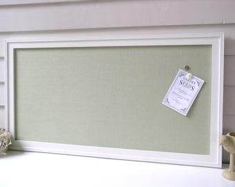 Magnetic Bulletin Board Organizer - Framed Magnet Board 17.5 x 33 Spring Green Fabric Shabby Chic Message Board Center Dorm Decor Office