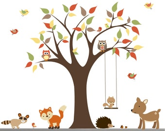Children Wall Decals For Nursery-Tree with Forest Animals-e186