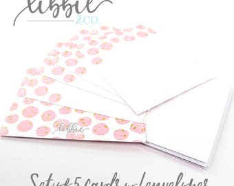 Pink Polka Dot with Gold Glitter - Set of 5 Flat Notecards