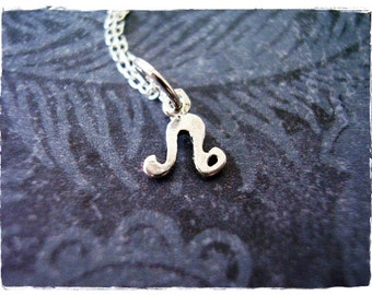 Tiny Leo Zodiac Sign Necklace - Sterling Silver Leo Charm on a Delicate Sterling Silver Cable Chain or Charm Only