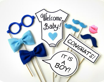 It's a Boy Photo Booth Props - 10 Piece Photo Prop - BABY SHOWER Photobooth Props