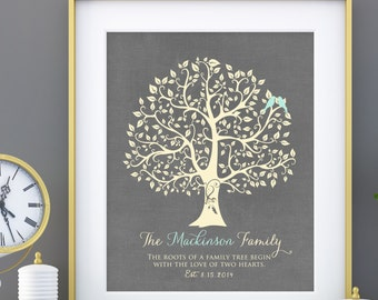 Wedding Gift for Couples Gift for Her Him Personalized Anniversary Gift Engagement Newlywed Love Birds Wedding Family Tree Art Print  - 8x10