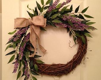 Front door wreath, Indoor Wreath, Lavender Wreath, Lilac Wreath, Woodland Wreath, Woodland Decor, Berry Wreath, Purple Wreath,