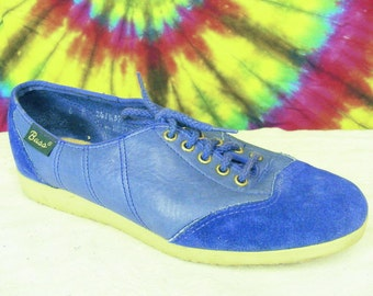 6 M vintage 70's BASS blue leather spectator wing tip oxfords shoes