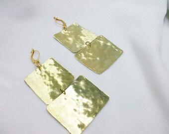 Handmade bronze plaque earrings