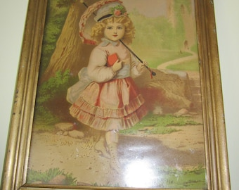 George Stinson, young girl, 1878 lithograph print, 13.5 x 9.5 inches,  15.5 x 11.5 inch frame, Mailed from Canada