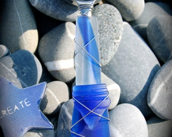 """Sea Glass Coffee Scoop made with Recycled Bottle """"Tumbled Island Glass""""  in Cobalt Blue. Dishwasher Safe. Stainless Steel."""