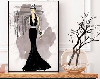 Charlotte in Paris, Fashion Illustration, Paris France, Interior Decor Print