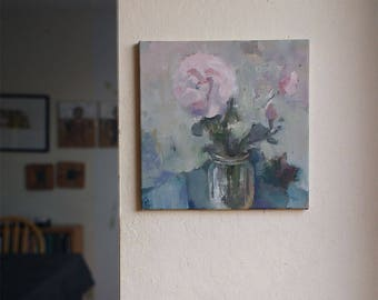 "Rose original painting flower still life oil canvas square 12"" x 12"" pink green blue"