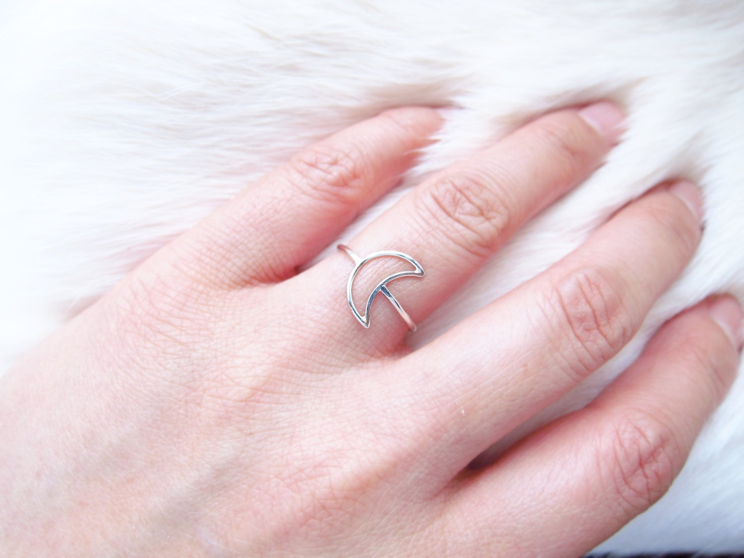 Dainty Silver Crescent Moon Ring-I Love You to the Moon and
