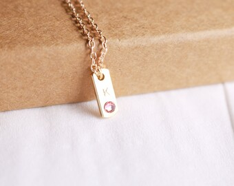Gold Bar Necklace - Initial Bar Necklace - Name Necklace - Personalized Bar Necklace - Swarovski Crystal - Monogram Necklace - Bar Necklace