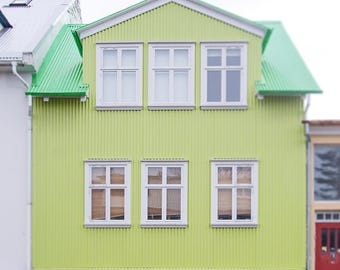 Reykjavík Photography, Iceland, Travel Photograph, Architecture, Lime Green, Green Building, Wanderlust, Europe, Neon Art, Colorful, Modern