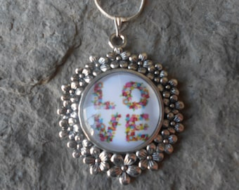 """Stunning Love Glass Cameo Pendant Necklace (spelled out in flowers)---Valentine's Day - Anniversary - .925 plated 22"""" Chain--- Great Quality"""