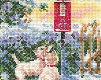 Heritage Crafts - What Now - Dogs Cross Stitch Kit from the Memories range by Leslie Stones