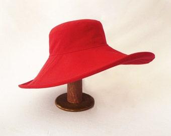 Womens Floppy Hat, Red Cotton, Sunhat, Resort Hat, Summer Style, Bright Red, Large Brimmed Hat, Beach Hat, Womens Summer Hat, Gardening Hat
