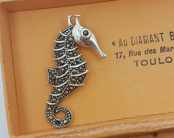 Beautiful Silver and Marcasite Seahorse Pendant