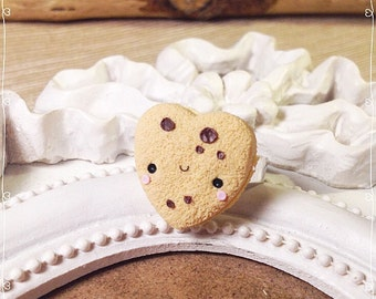 Cookie Ring Heart ~ Cute Ring Fimo Polymer Clay Kawaii Cookie Chocolate