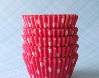MINI Pink Polka Dot Cupcake Liners, Pink Polka Dot Baking Cups, Valentine's Day Cupcake Liners (60)
