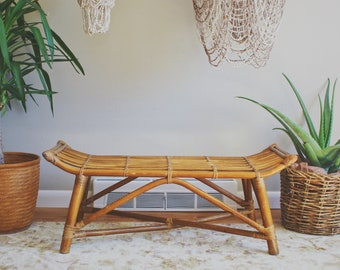 rattan bench rattan furniture bamboo furniture entryway bench boho decor bench seat kids room decor mid century modern chippendale bench