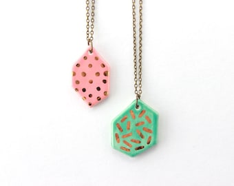 Gold Necklace, Polka Dot Necklace, Gem Necklace, Geometric Jewelry, Gold Gifts for Her under 30, Gold Geometric Necklace, Ceramic Necklace