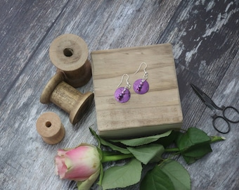 Vintage Butterfly and Trellis, Disc Drop Earrings in Purple Anodised Aluminium with Tonal Glass Beads - Earrings, Ideal Gift
