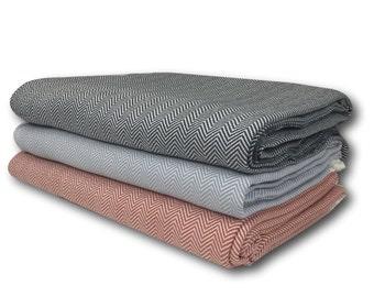 Handwoven Herringbone Cotton Throw Blanket, Sofa Throw, Bed Spread King Queen size