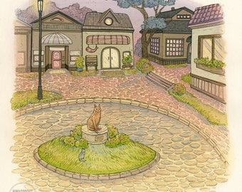 Town Square - Original Painting by Nicole Gustafsson