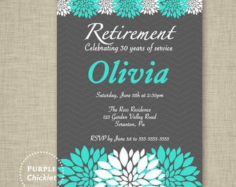 Turquoise and Gray Retirement Invitation Farewell Celebration Floral Party Invite Personalized Party Printable Invite JPEG file 14