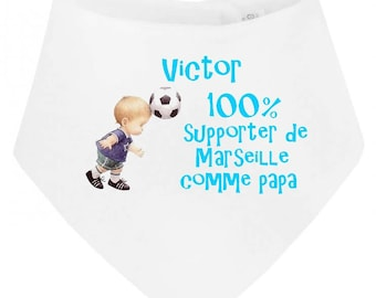 100% baby bib bandana supporting Marseille personalized with name