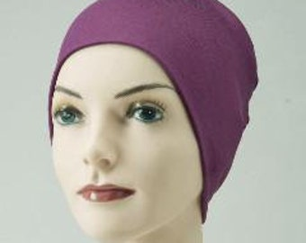 Chemo Cap, Cancer Beanie, Sleep, Casual, Eggplant, Purple, Soft, Comfy, Cozy Knit