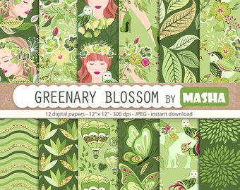 "Greenery digital papers: ""GREENERY BLOSSOM pattern"" with greenery pattern, green digital paper, spring pattern, 12 images, 300 dpi jpg files"