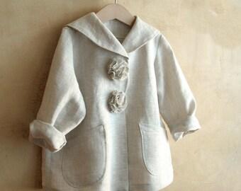 Sailor collar organic linen Jacket, toddler girls elegant Coat, flower girl wedding pea, baby girl boho clothes, summer blazer unique cloack
