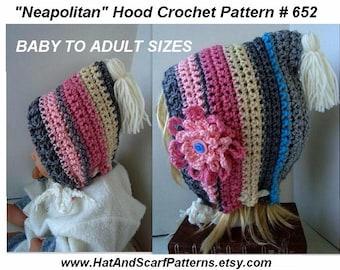 CROCHET HOOD, Crochet Pattern, Baby to Adult, children, toddlers, teens, women, crochet flower, # 652