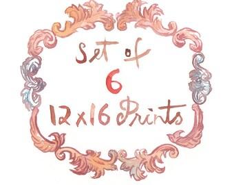 Set of 6 prints, 12X16 posters - Wall art set of 6, Watercolor painting, Art print set, Kitchen decor, Any 6 prints, Customized kitchen art