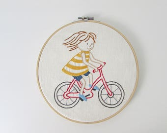 Hand embroidery pattern - bicycle embroidery - baby girl room decor - PDF - Instant download