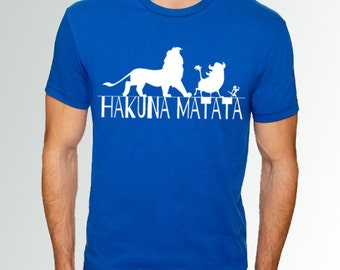 FLASH SALE - 3X and 4X MENS * Lion King * Hakuna Matata *  Royal Blue w/ White * Crew Neck Shirt * Disneyland/Disney World/Run Disney